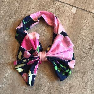 Milk silk navy and pink floral infant headband